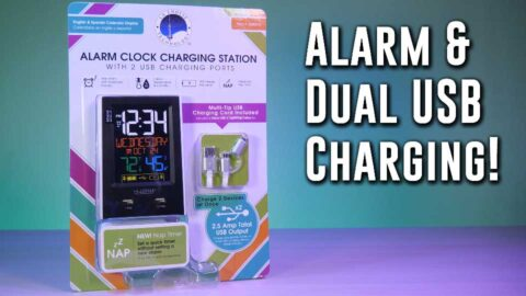 DOUBLE DUTY- La Crosse Alarm Clock Charging Station for 2 phones!
